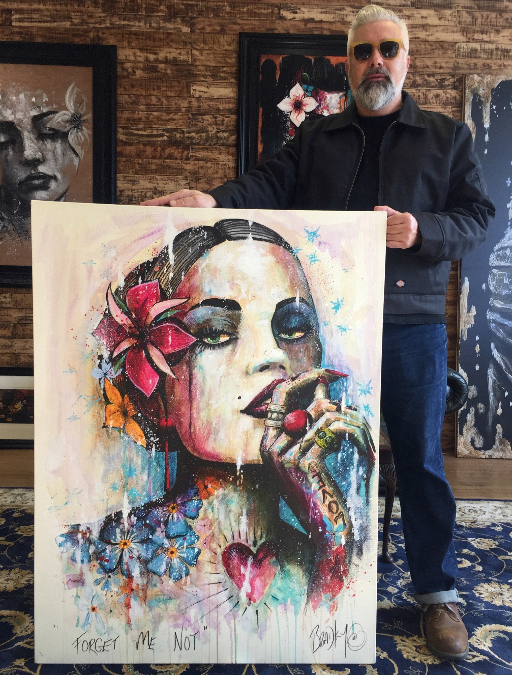 Forget Me Not painting by local artist Terry Bradley in collaboration with House of Fraser
